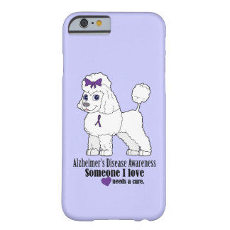 Alzheimer's Disease Poodle with Ribbon on Purple Barely There iPhone 6 Case