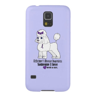 Alzheimer's Disease Poodle with Ribbon on Purple Case For Galaxy S5