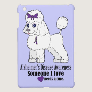Alzheimer's Disease Poodle with Ribbon on Purple iPad Mini Cover