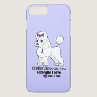 Alzheimer's Disease Poodle with Ribbon on Purple iPhone 7 Plus Case