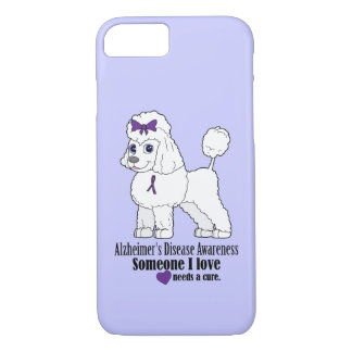 Alzheimer's Disease Poodle with Ribbon on Purple iPhone 8/7 Case