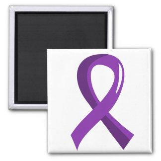 Alzheimer's Disease Purple Ribbon 3 2 Inch Square Magnet
