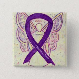 Alzheimer's Disease Purple Ribbon Angel Art Pins