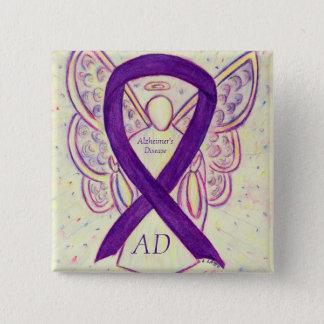 Alzheimer's Disease Purple Ribbon Angel Custom Pin