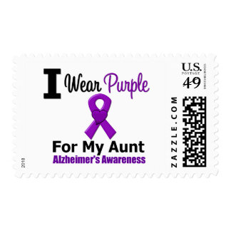 Alzheimer's Disease Purple Ribbon For My Aunt Postage Stamps