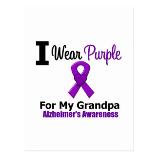 Alzheimer's Disease Purple Ribbon For My Grandpa Postcard