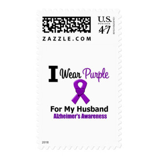 Alzheimer's Disease Purple Ribbon For My Husband Postage Stamp