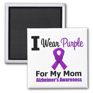 Alzheimer's Disease Purple Ribbon For My Mom 2 Inch Square Magnet