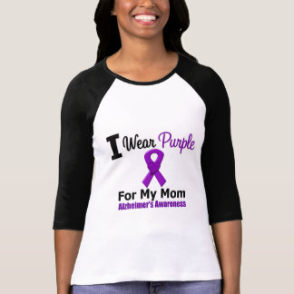 Alzheimer's Disease Purple Ribbon For My Mom Tees
