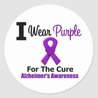Alzheimer's Disease Purple Ribbon For The Cure Classic Round Sticker