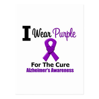 Alzheimer's Disease Purple Ribbon For The Cure Postcard