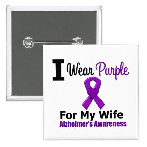 Alzheimer's Disease Purple Ribbon Wife Buttons
