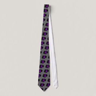 Alzheimer's Disease Purple Ribbon With Scribble Tie