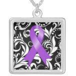 Alzheimer's Disease Ribbon Deco Floral Noir Square Pendant Necklace