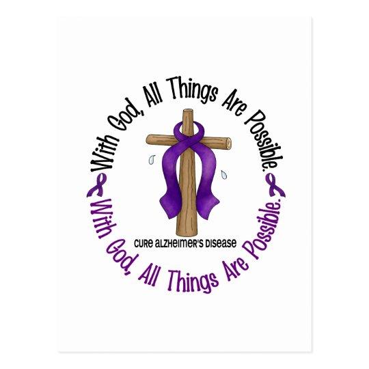 Alzheimer's Disease WITH GOD CROSS 1 Postcard