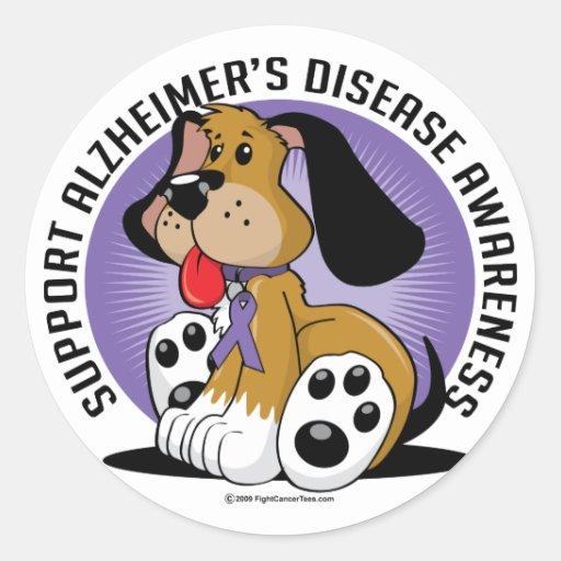 Alzheimers Dog Round Stickers
