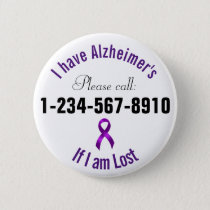 Alzheimers Emergency Contact Pinback Button