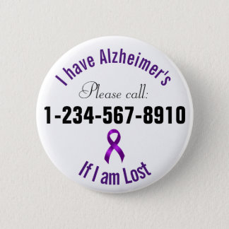 Alzheimers Emergency Contact Pinback Button