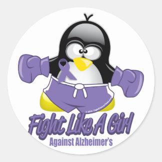 Alzheimers Fighting Penguin Classic Round Sticker