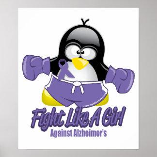 Alzheimers Fighting Penguin Poster