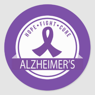 Alzheimer's Hope Fight Cure ribbon Classic Round Sticker