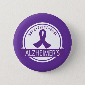Alzheimer's Hope Fight Cure Ribbon Pinback Button