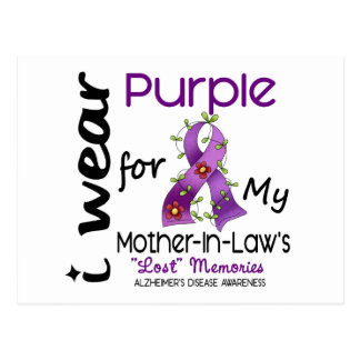 Alzheimers I Wear Purple For My Mother-In-Law Postcard