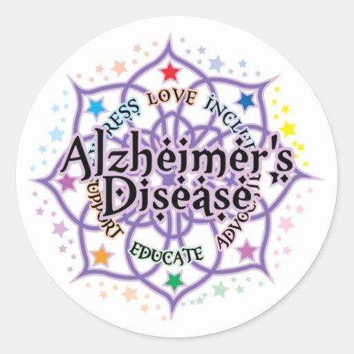 Alzheimers Lotus Classic Round Sticker