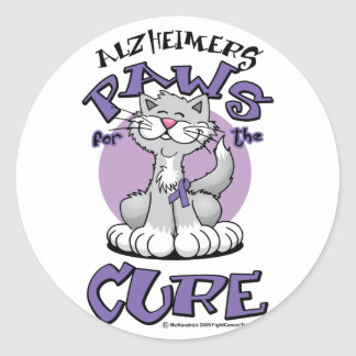 Alzheimers Paws for the Cure Cat Classic Round Sticker