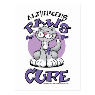 Alzheimers Paws for the Cure Cat Postcard