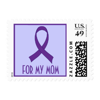 Alzheimers Purple Awareness Ribbon For Mom Postage Stamp