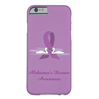 Alzheimer's Purple Awareness Ribbon with Swans Barely There iPhone 6 Case