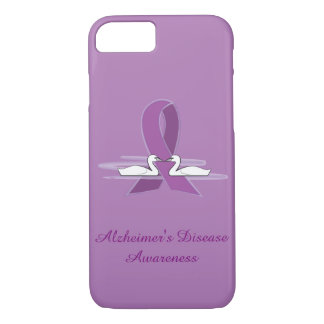 Alzheimer's Purple Awareness Ribbon with Swans iPhone 8/7 Case