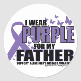 Alzheimers Purple For FATHER Classic Round Sticker