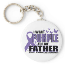 Alzheimers Purple For FATHER Keychain