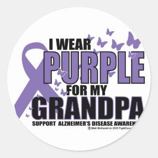 Alzheimers: Purple For GRANDPA Classic Round Sticker