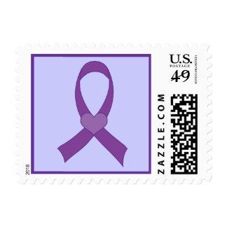 Alzheimers Purple Ribbon Heart Awareness Postage