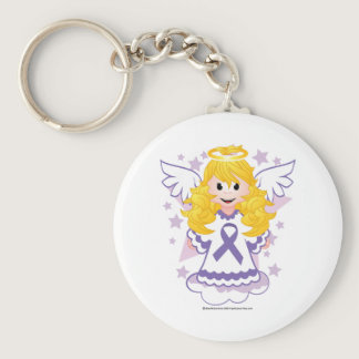 Alzheimers Ribbon Angel Keychain