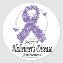 Alzheimers Ribbon of Butterflies Classic Round Sticker