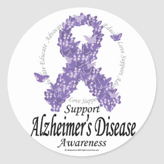 Alzheimers Ribbon of Butterflies Classic Round Sticker