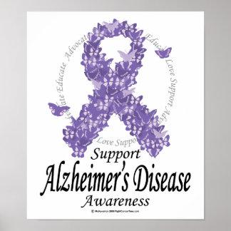 Alzheimers Ribbon of Butterflies Poster
