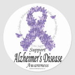 Alzheimers Ribbon of Butterflies Round Stickers