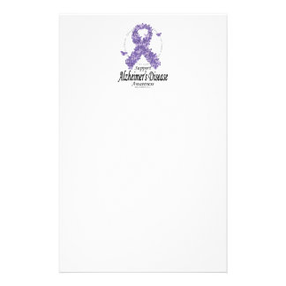 Alzheimers Ribbon of Butterflies Stationery