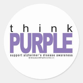 Alzheimers THINK Purple Classic Round Sticker