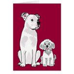 AM- Bichon Frise and American Bulldog Notecard Cards