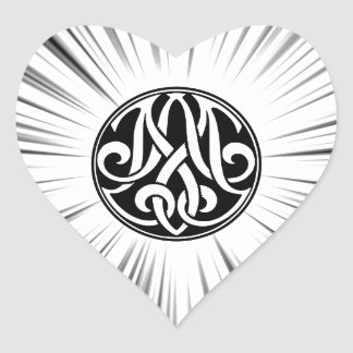 AM / MA Monogram with Hyperspace Graphic Heart Sticker