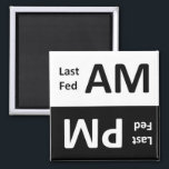 """AM/PM Pet Feeding Reminder Magnet<br><div class=""""desc"""">Did anyone feed Fido last night? How about this morning? This magnet helps you keep track in your busy multi-master household. Just keep this magnet near his food bowl on the side of the fridge and flip it after each feeding... Fido will never go hungry or eat a double meal...</div>"""