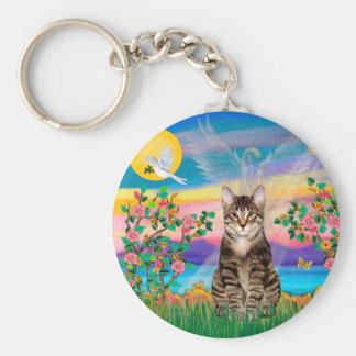 Am. SH Tabby Tiger Cat - Guardian Angel (#2) Basic Round Button Keychain