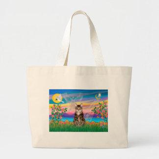 Am. SH Tabby Tiger Cat - Guardian Angel (#2) Large Tote Bag