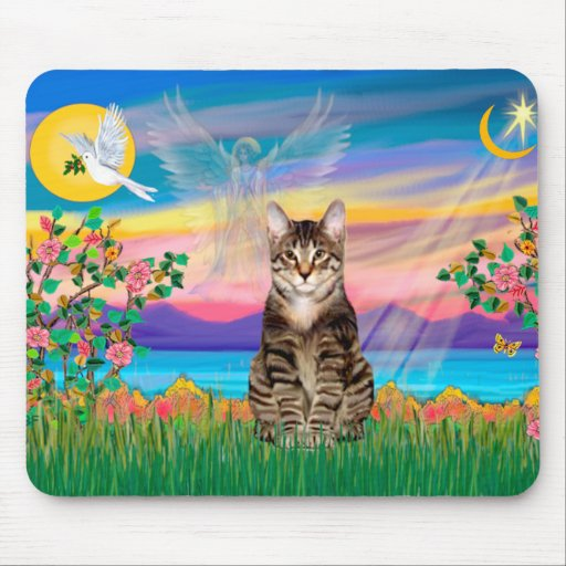 Am. SH Tabby Tiger Cat - Guardian Angel (#2) Mouse Pad
